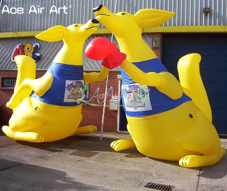 Customized outdoor yellow animal model inflatable kangaroo ...