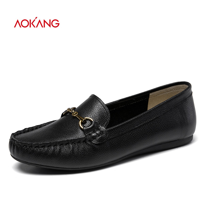 AOKANG 2018 Autumn Shoes Woman Cow Leather Flats Women Slip On Flat Casual Shoes Women Zapatos Mujer Moccasins Mother Loafers стоимость