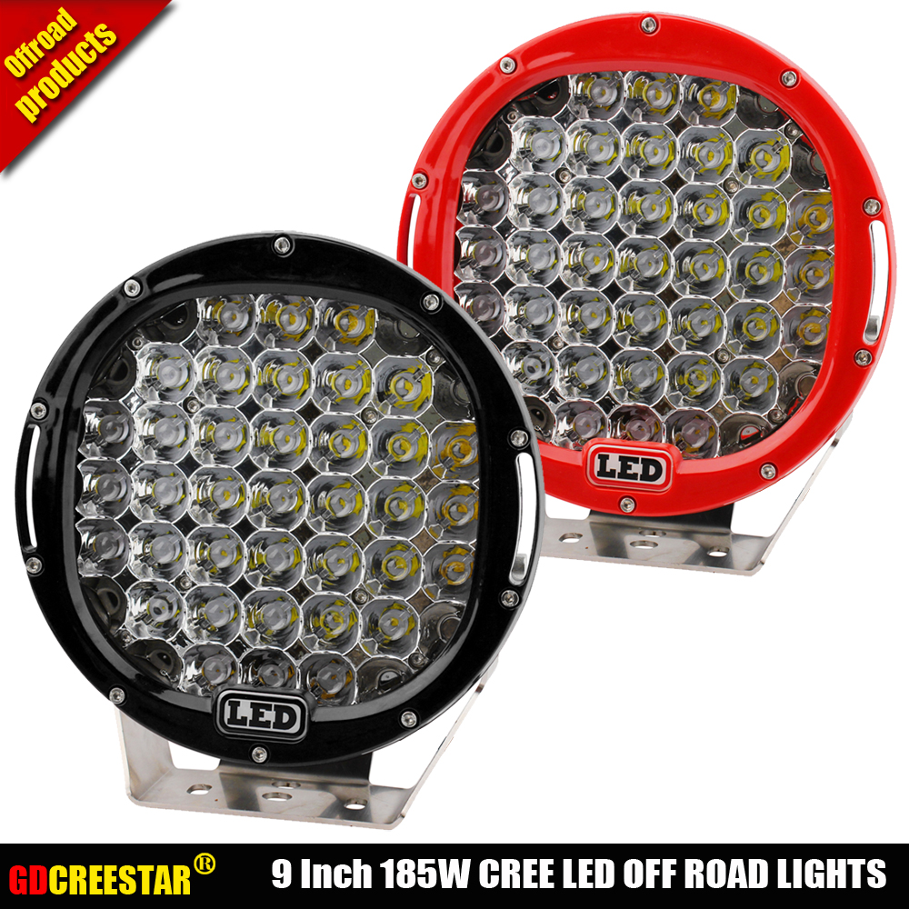 Round 185W 9inch Led Driving Work Light 4x4 Offroad Lights + Free Cover For Truck 4WD SUV 12V 24V External Lights x1pc Freeship