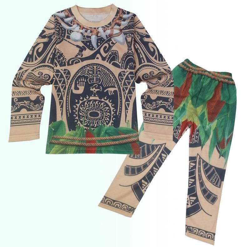 Moana Maui Costume Boys Pyjama Sets Nightwear Sleepwear Long Sleeve kid child t skirt clothes bathrobe cartoon