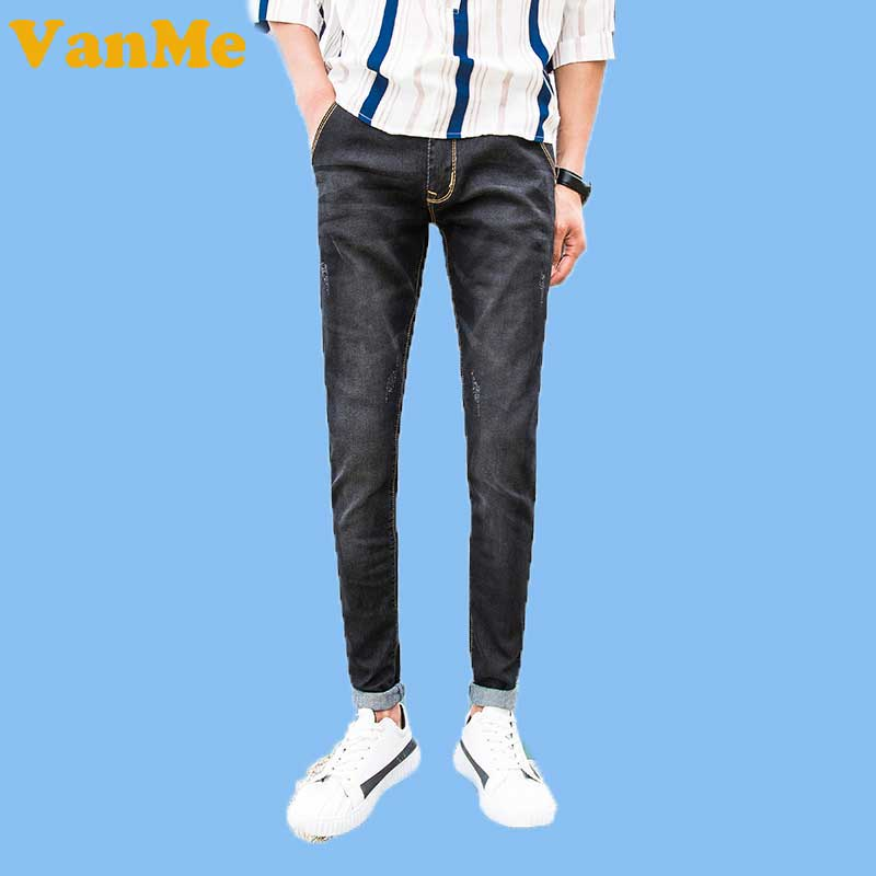 2017 New Romantic Fashion Mens Long Pants Summer Solid Color with Elastic Men s Jeans Comfortabal