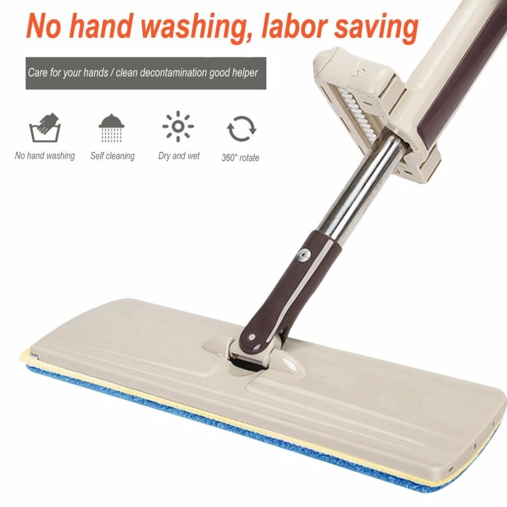 PREUP Wash-Free Flat Mop Wood Floor Hands-Free Telescopic Washable Mop Microfiber Cloth Towel Mop Washing Floor Drop Shipping