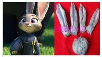 2016 New Zootopia Cosplay Judy Rabbit Bunny Rabbit Pink white EarsTails Headwear Props Costumes Accessories Hot Sale
