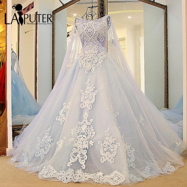 9d1cce5c4e Elegant Scoop Neck Ball Gown Court Train Sequins Crystals Beaded vestido de  festa Lace Appliques Tulle Dusty Blue Wedding Dress