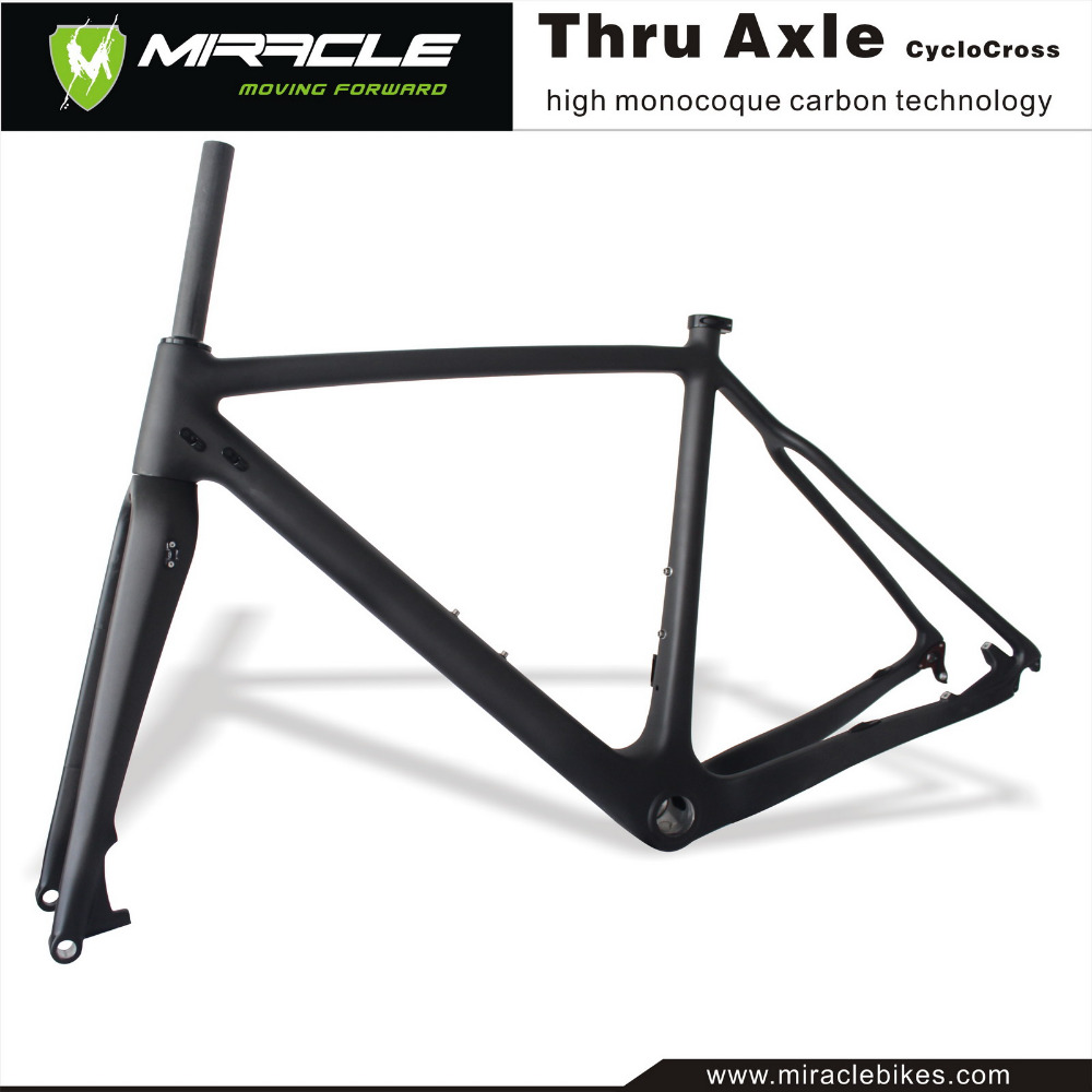 Miracle new design High Modulus Toray Carbon Fiber T700 142mm thru axle carbon cyclocross bikes frame seraph 2018 carbon fiber cyclocross bike carbon cyclocross frame 142 12mm rear thru axle fm286 carbon frame 56 color paint