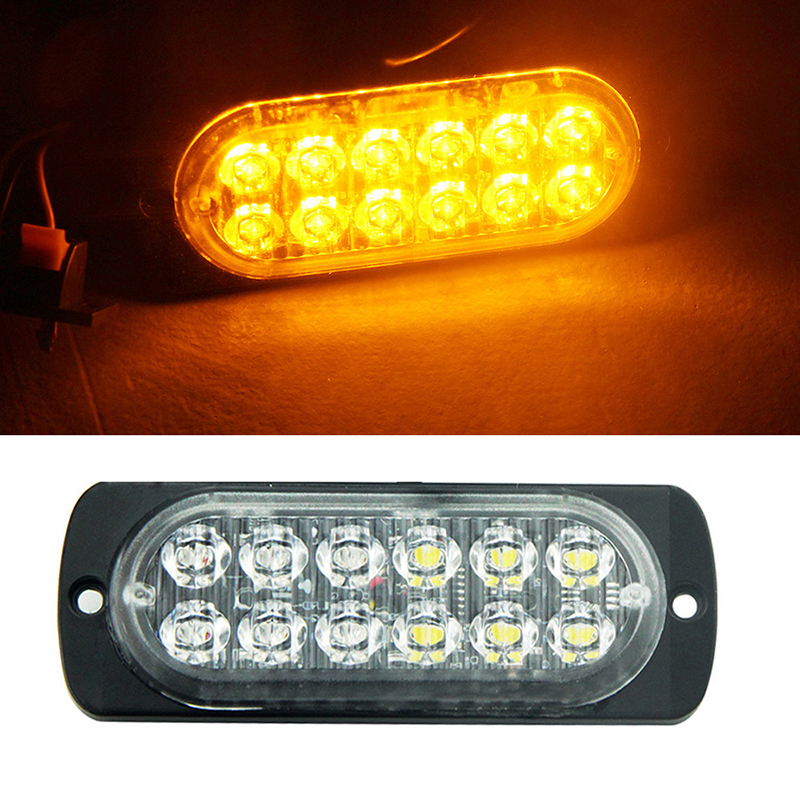 2x Yellow Amber White Red 12Leds SUV Truck Car 12V 24V Vehicle Led Warning Lamp Engineer Police Emergency Flash Strobe Light Bar