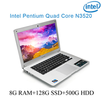 "ssd intel pentium n3520 8G RAM הכסף 128g SSD 500G HDD Intel Pentium 14"" N3520 מקלדת מחברת מחשב ניידת ושפת OS זמינה עבור לבחור (1)"