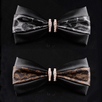 High Quality PU Leather Bow Tie Tie Lines Temperament Men Dress Wedding Bow Tie Chao Presided