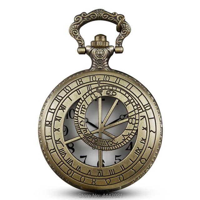 Bronze Hollow Doctor Who Pocket Watches Chains Vintage Pattern Quartz Pocket Wat