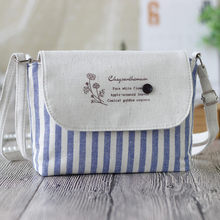 Women Bag Small Fresh Striped Shoulder Cotton Crossbody taschen women bolsa masculina sac femme borse da donna bolso mujer(China)