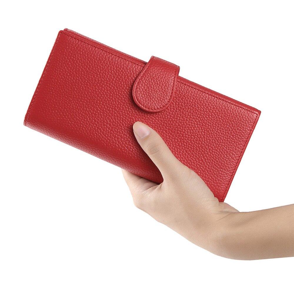 couro genuína longa com três Estilo : Womens Wallets And Purses