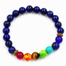 8mm lava energy chakra colorful prayer beads hand string Natural stone Bracelets Jewely