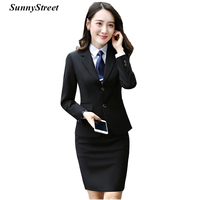 Women's Blazer Business Suit Set Office Ladies Work Wear 2 buttons Jacket and Skirt 2 pieces