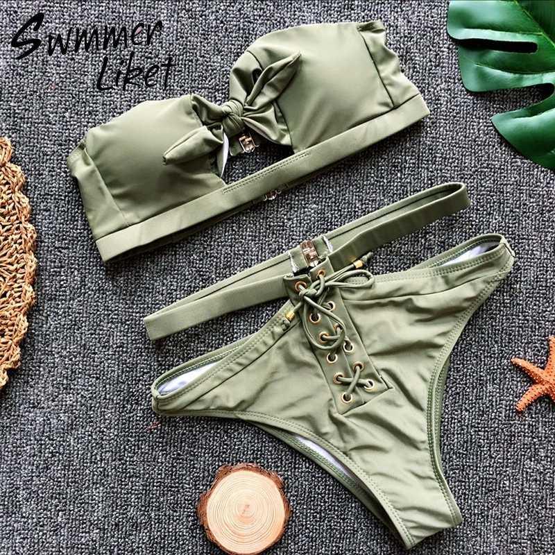 5e70ddfad860d7 ... Ribbed white swimsuit push up bikini set High waist swimwear female  2018 Sexy bathers summer bathing ...