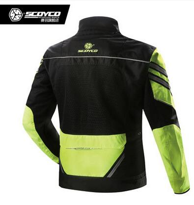 2016 new Scoyco Spring and summer Reflective fluorescent green breathable jacket motorcycle racing Drop locomotive jacket JK36