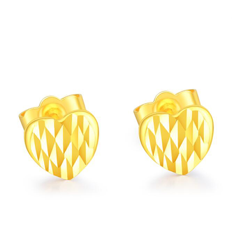 New Arrival AU750 Yellow Gold Earrings Women Heart Stud Earrings 1g цена