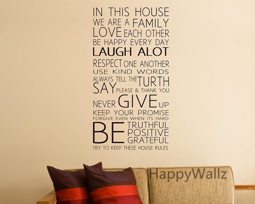 In This House We Are Family Quote Wall Sticker Decorating Diy Family
