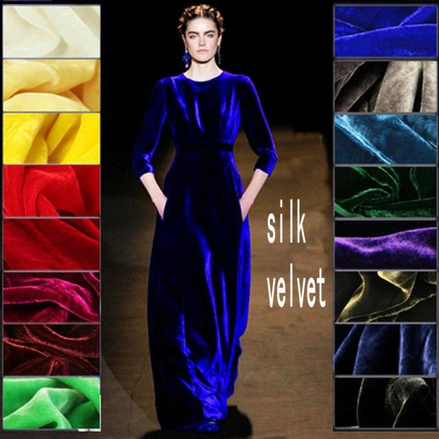 Бесплатная доставка 65 цветов шелковая велюровая ткань шелковая бархатная ткань для бархатного платья шелковая ткань