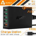 AUKEY 54W 5 Port Quick Charger 2.0 USB Charger QC2.0 Wall Charging EU US Plug for iPhone 7 Plus Mobile Phone Travel Charger HTC