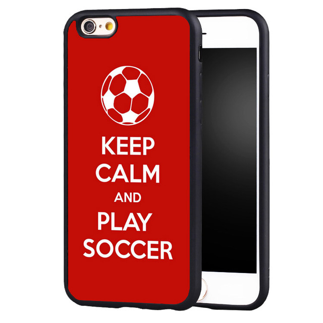 buy popular a4471 b5d04 US $4.99 |keep clam play soccer pattern Phone Cases For iPhone 6 6S Plus 7  7Plus 5 5S 5C SE original protect edge Back Cover Shell-in Fitted Cases ...
