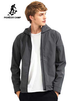 Pioneer Camp hooded waterproof jacket men brand clothing windbreaker casual solid soft shell coat male black grey AJK702377 - DISCOUNT ITEM  50% OFF All Category