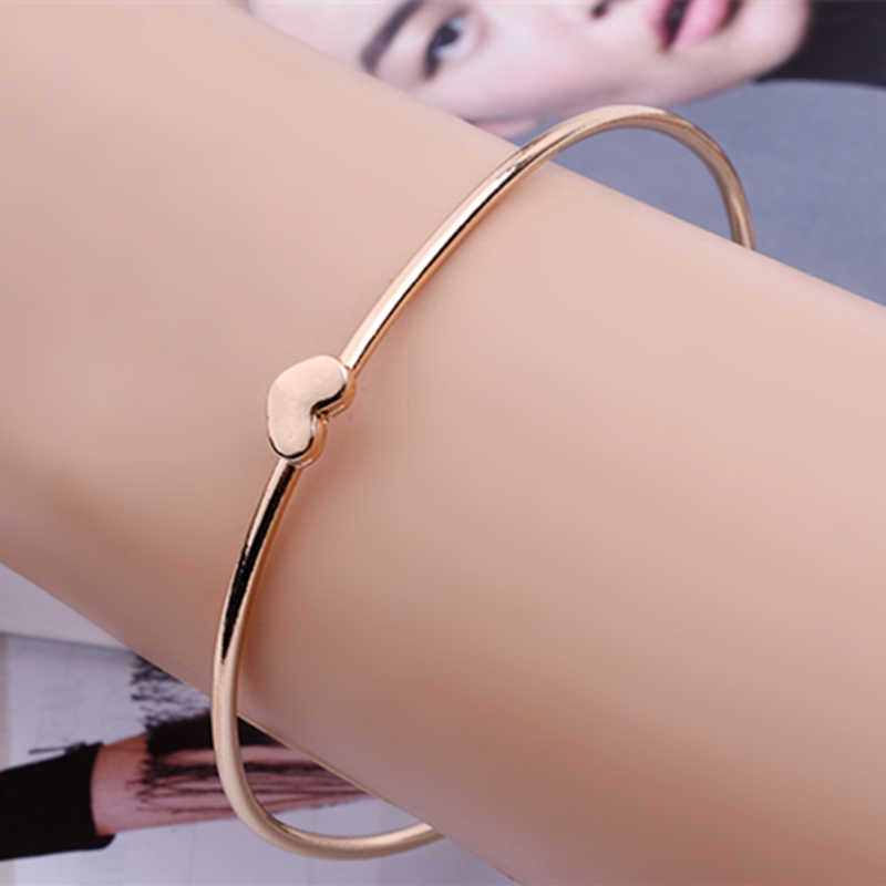 New Fashion Simple Wholesale Personalized Gold Color Peach Heart Lovely Bangle bracelets & bangle