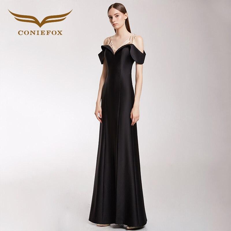 CONIEFOX 32298 noir sirène robes de soirée robe de bal mère de la mariée robes robe de festa longo para casamento
