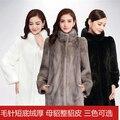 Real de alta calidad Natural Mink Fur Coat Mujeres del Invierno Largo Abrigo de piel de Visón Chaqueta De Piel
