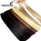 MRSHAIR Remy Tape In Human Hair Extensions Double Drawn Hair Remy Straight Bundles Weave On Adhesives Seamless Hair Blonde