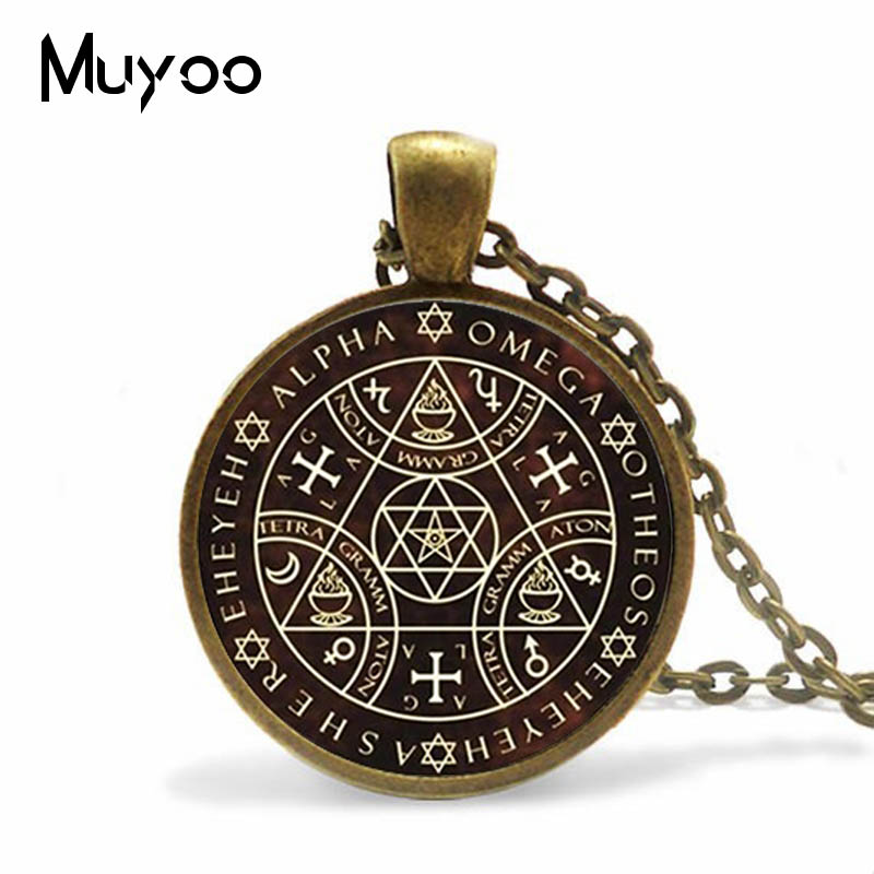 2017 Key of Solomon Sigil Logo Round Pendant Necklace Vintage Silver Choker Necklace Jewelry Gift Gaudy Adventurer A-072-1 Переносные часы