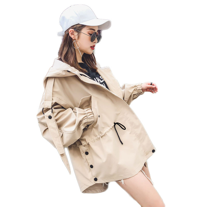 2019 Spring Fashion European Women's Classic Hooded Short   Trench   Coat Female Loose Fit Zipper Windbreaker Solid Outerwears M193