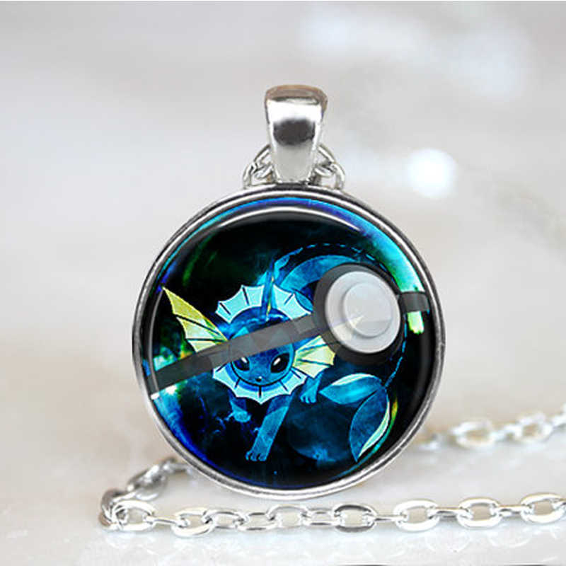 Glaceon Pokeball Pokemon Necklace // 27 mm Round Pendant for Children Boy Girl