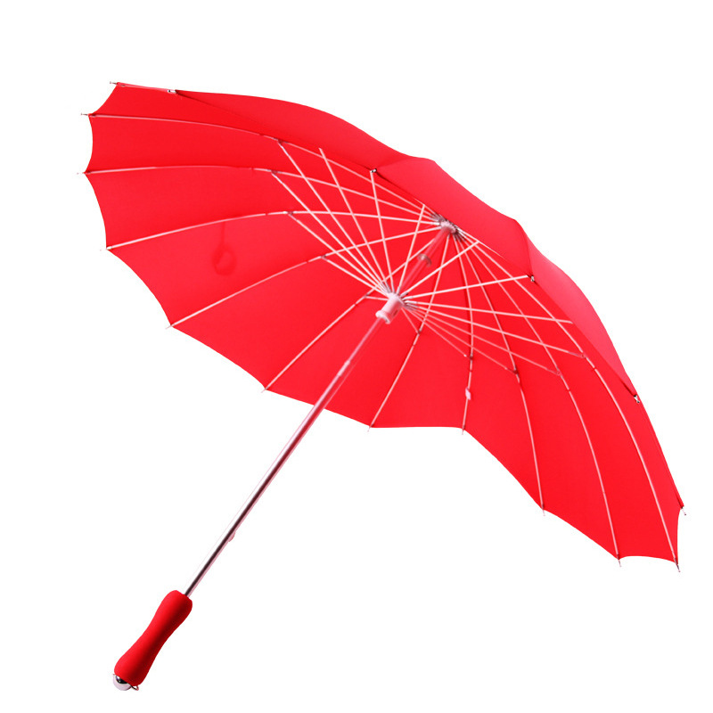 1pcs red heart shape 16 ribs peach Folding Sunny and Rainy Umbrella for women wedding party in Umbrellas from Home Garden