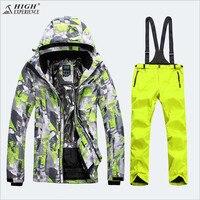 High Experience Для мужчин лыжная куртка брюки сноубордические костюм Водонепроницаемый ветрозащитная спортивная одежда Лыжный спорт Сноуборд к