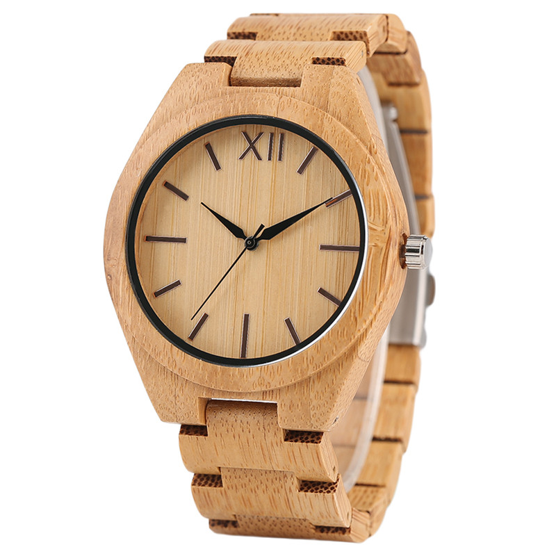 High Quality New Arrivals Nature Hand-made Wooden Bamboo Men's Quartz Watches Scale Dial Bracelet Clasp Casual Male Watch Gift hand made mens wooden bamboo quartz watch black genuine leather watchband simple unique modern wristwatch gift for male female