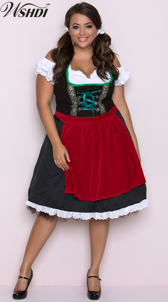 New German Bavarian Beer Maid Wench Dirndl Costume Oktoberfest Girl Costume Halloween Carnival Party Cosplay Fancy Dress