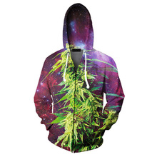 New Arrive Weeds Leaves Leaf Space Galaxy Zip-up Hoodie Men Women 3D Print Hoody Clothing Fashion Casual Long Sleeve Hooded Tops