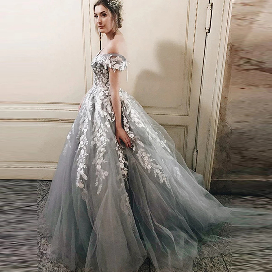 Silver Off The Shoulder Beaded Applique A-line Wedding Dress With Lace-up Back Sweep Train Tulle Bridal Party Dress
