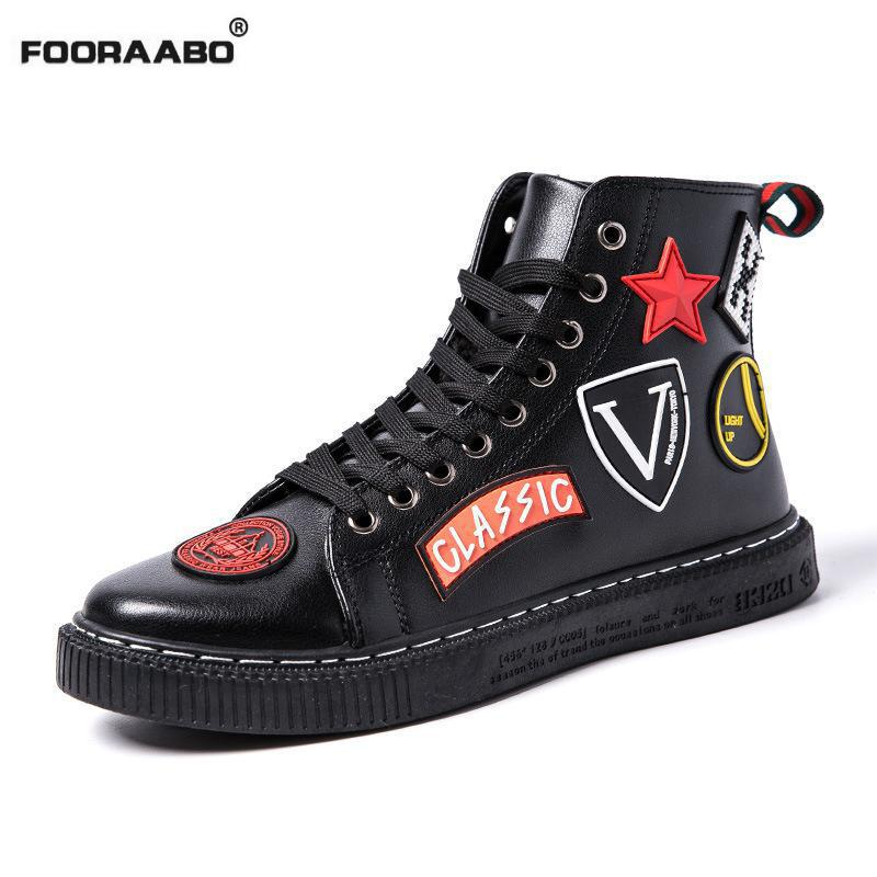 Fooraabo 2017 New Star Luxury Mens Casual Shoes Black Flats Autumn Hip Hop High Top Men Sneaker Pu Leather Male Shoes White mycolen new autumn winter men black casual shoes men high tops fashion hip hop shoes zapatos de hombre leisure male botas