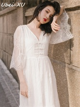 Ubei 2019 Summer fairy dress white lace retro seaside holiday beach long high waist fashion women