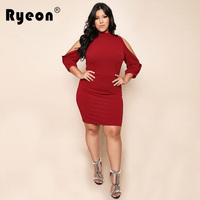 Ryeon Plus Size Christmas Tunic Sexy Women Dress Red Black Sexy Hollow Out Long Sleeve O Neck Party Office Vestido De Festa Xxxl