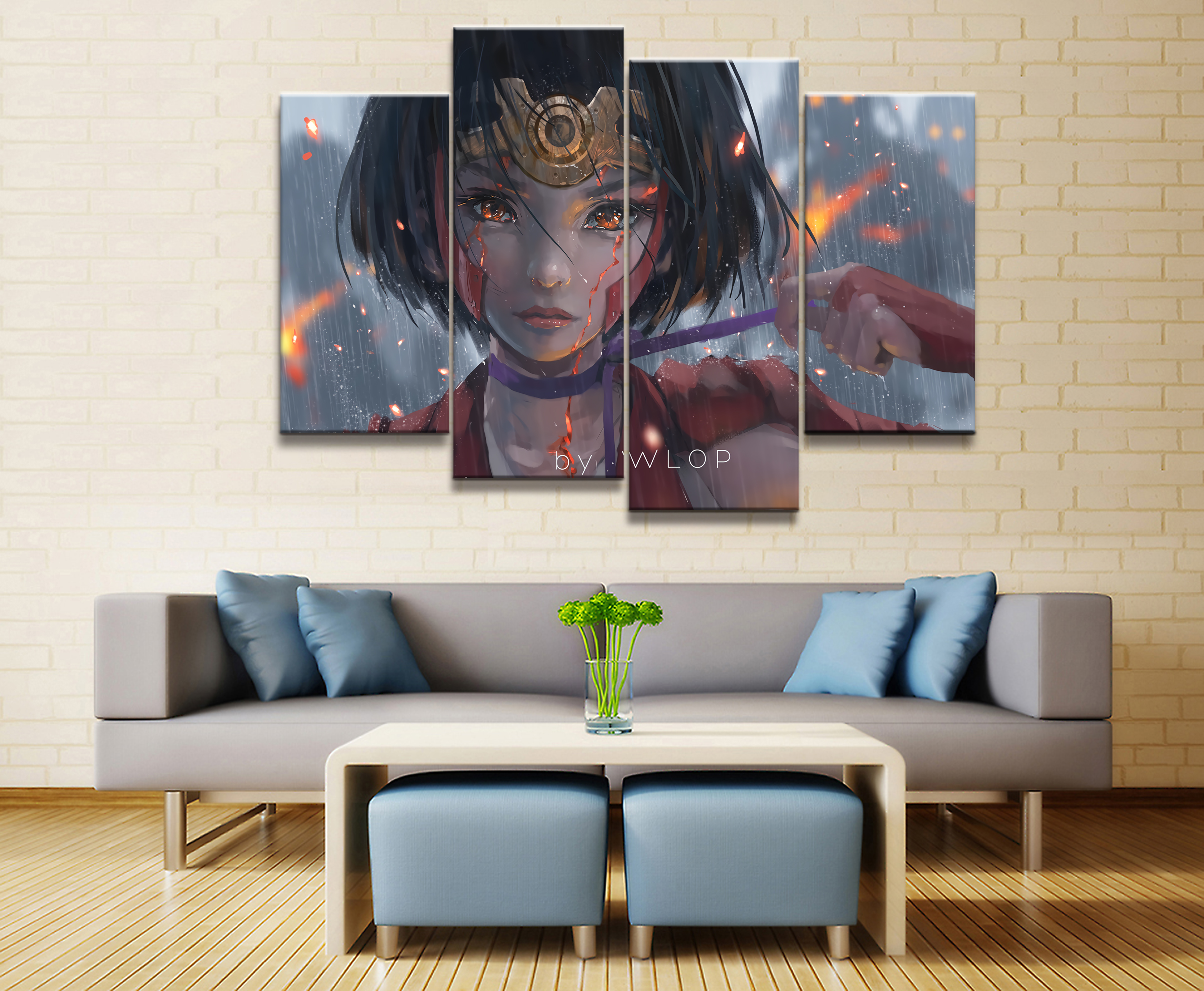 4 Panel WLOP My Hero Academia Animation Canvas Poster Printed Painting Living Room Wall Art Decor Picture Artworks Poster