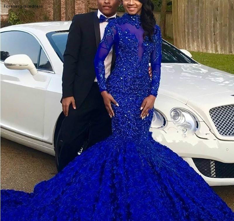 Royal Blue   Prom     Dresses   2019 South African Mermaid Long Sleeves Pageant Holidays Graduation Wear Formal Evening Party Gows