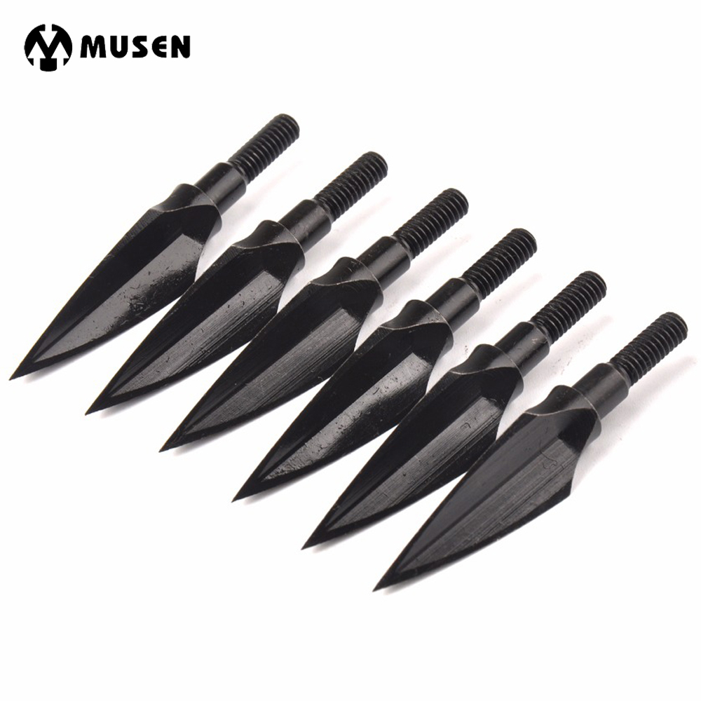 3/6/12 pcs <font><b>Crossbow</b></font> Arrow Head Tip Point 125 Grain Steel for DIY Bow and Arrow Archery Hunting Shooting image
