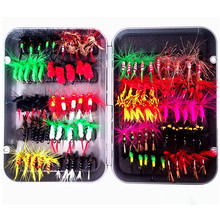KKWEZVA 100pcs Insects Fishing fly Lure different Style Salmon Flies Trout Single Dry Fly Lures Tackle with box
