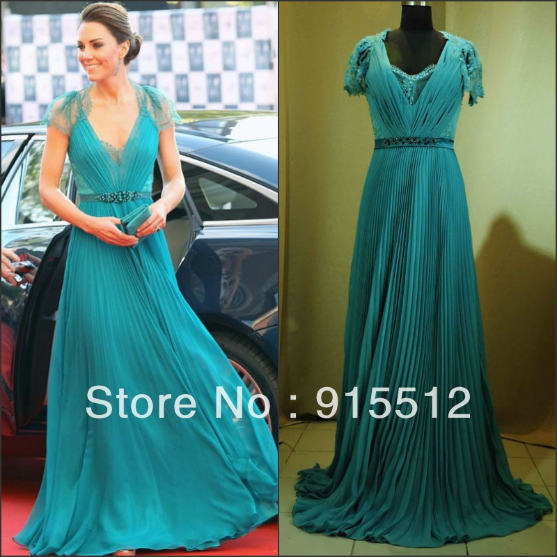 Princess Kate Same Design Jade Color V neck Chiffon Red Carpet ...