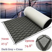 Alfombra EVA para cubierta de barco, alfombra para suelo de barco, gris oscuro en negro, alfombra antideslizante para cubierta de teca, 70x190 cm, accesorios para barcos