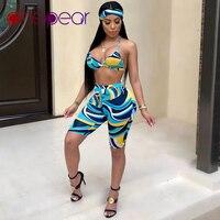 265f361995ef6 PinePear 2019 Women Multi Geometric Print Scarf Bra Shorts 3 Piece Bikini  Set Swimsuit Beach Wear