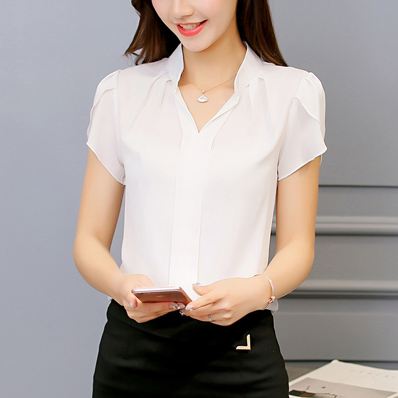2018 Women Shirt Chiffon Blusas Femininas Tops Short Sleeve Elegant Ladies Formal Office Blouse Plus Size