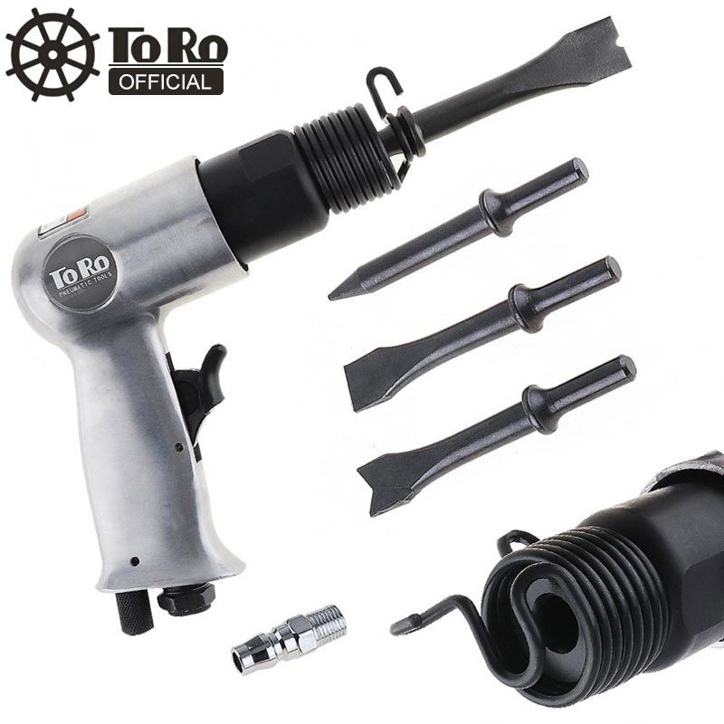 3/8'' TORO 120mm Air Hammer Professional Handheld Pistol Gas Shovels Small Rust Remover Pneumatic Tools With 4 Chisels Set